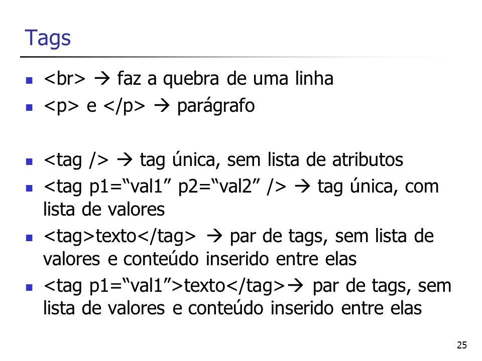25 Tags faz a quebra de uma linha e parágrafo tag única, sem lista de atributos tag única, com lista de valores texto par de tags, sem lista de valore