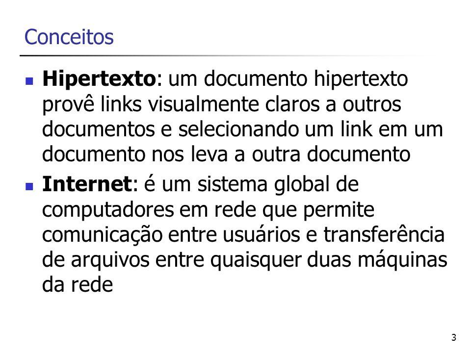 44 Links Os links tornam possível a navegação entre páginas.