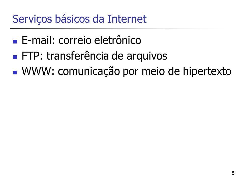 5 Serviços básicos da Internet E-mail: correio eletrônico FTP: transferência de arquivos WWW: comunicação por meio de hipertexto