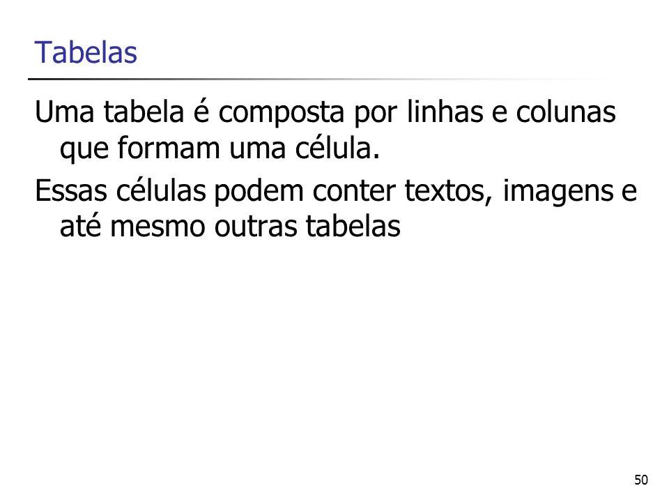 50 Tabelas Uma tabela é composta por linhas e colunas que formam uma célula. Essas células podem conter textos, imagens e até mesmo outras tabelas