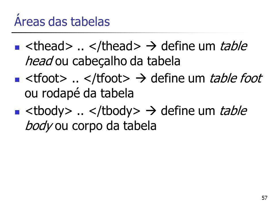 57 Áreas das tabelas.. define um table head ou cabeçalho da tabela.. define um table foot ou rodapé da tabela.. define um table body ou corpo da tabel