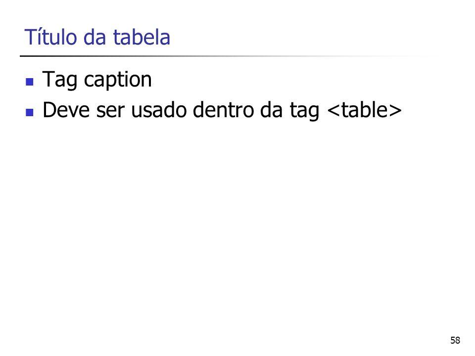 58 Título da tabela Tag caption Deve ser usado dentro da tag