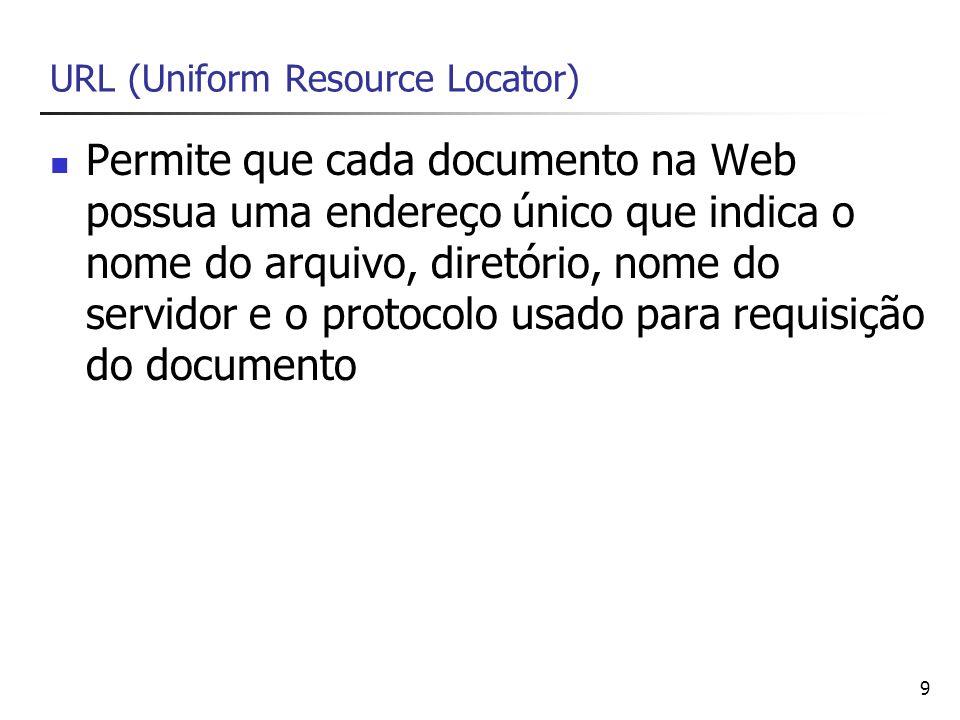 9 URL (Uniform Resource Locator) Permite que cada documento na Web possua uma endereço único que indica o nome do arquivo, diretório, nome do servidor