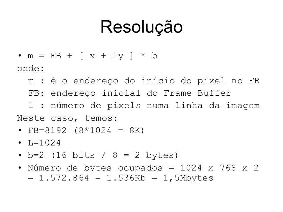 Resolução m = FB + [ x + Ly ] * b onde: m : é o endereço do início do pixel no FB FB: endereço inicial do Frame-Buffer L : número de pixels numa linha