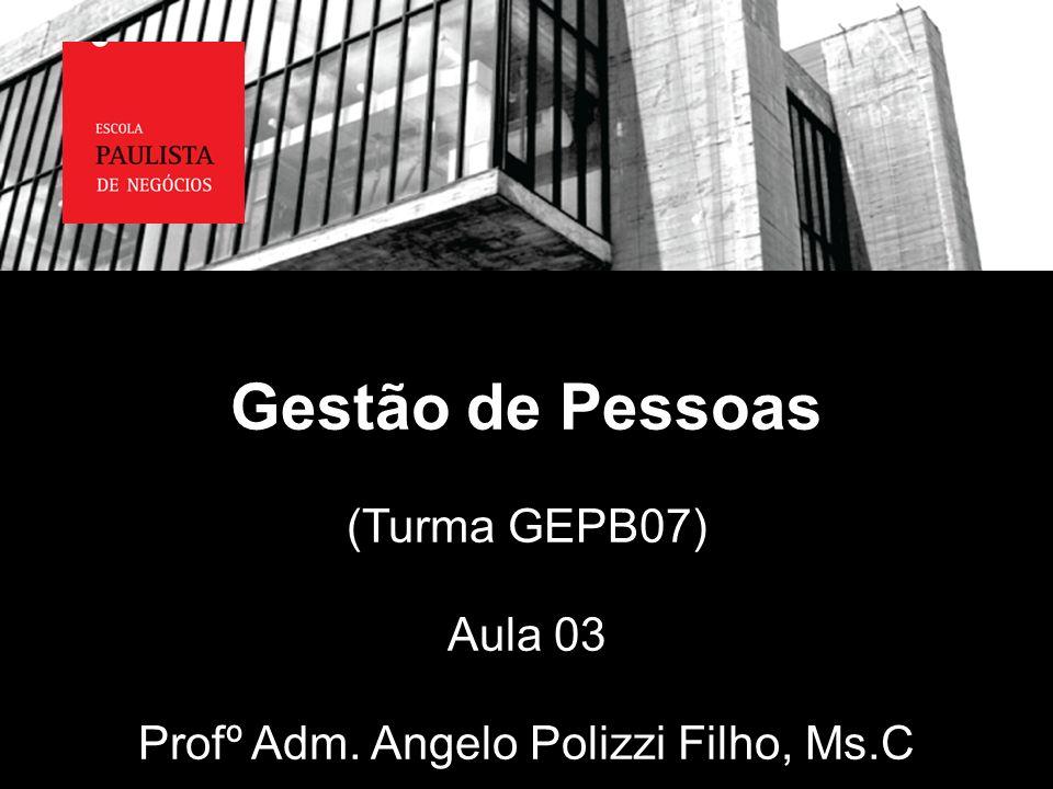 Gestão de Pessoas (Turma GEPB07) Aula 03 Profº Adm. Angelo Polizzi Filho, Ms.C