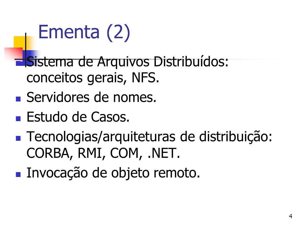 4 Ementa (2) Sistema de Arquivos Distribuídos: conceitos gerais, NFS. Servidores de nomes. Estudo de Casos. Tecnologias/arquiteturas de distribuição: