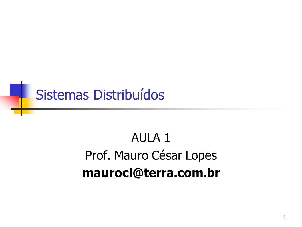 1 Sistemas Distribuídos AULA 1 Prof. Mauro César Lopes maurocl@terra.com.br