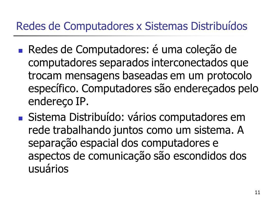 11 Redes de Computadores x Sistemas Distribuídos Redes de Computadores: é uma coleção de computadores separados interconectados que trocam mensagens b