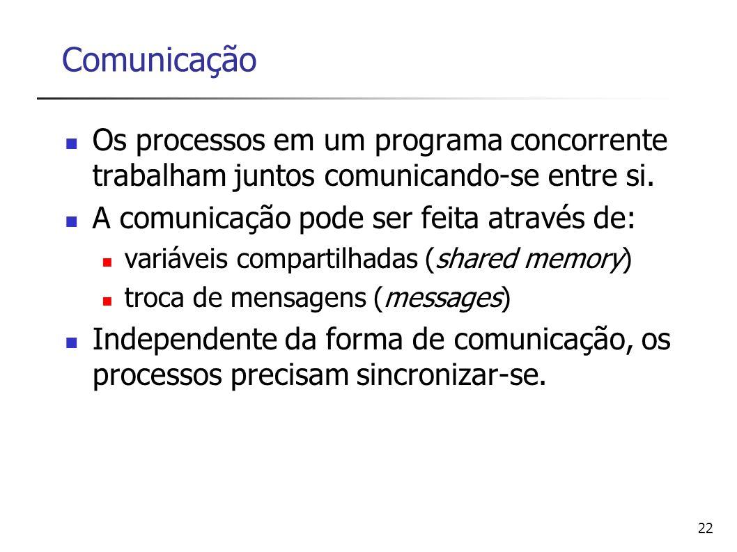 22 Comunicação Os processos em um programa concorrente trabalham juntos comunicando-se entre si. A comunicação pode ser feita através de: variáveis co