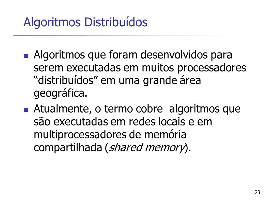23 Algoritmos Distribuídos Algoritmos que foram desenvolvidos para serem executadas em muitos processadores distribuídos em uma grande área geográfica