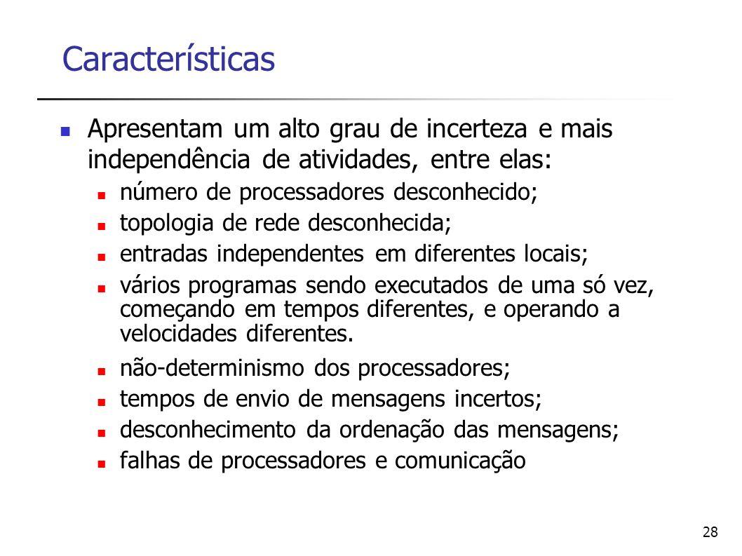 28 Características Apresentam um alto grau de incerteza e mais independência de atividades, entre elas: número de processadores desconhecido; topologi
