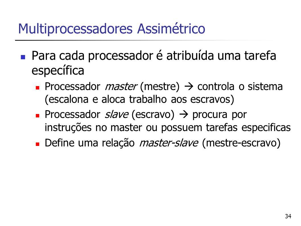 34 Multiprocessadores Assimétrico Para cada processador é atribuída uma tarefa específica Processador master (mestre) controla o sistema (escalona e a