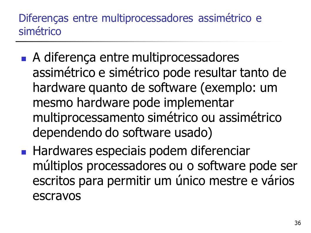 36 Diferenças entre multiprocessadores assimétrico e simétrico A diferença entre multiprocessadores assimétrico e simétrico pode resultar tanto de har
