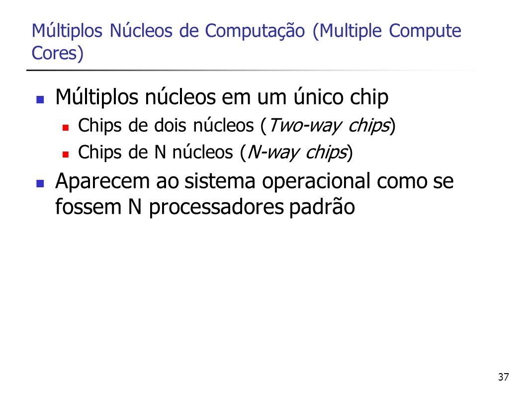 37 Múltiplos Núcleos de Computação (Multiple Compute Cores) Múltiplos núcleos em um único chip Chips de dois núcleos (Two-way chips) Chips de N núcleo