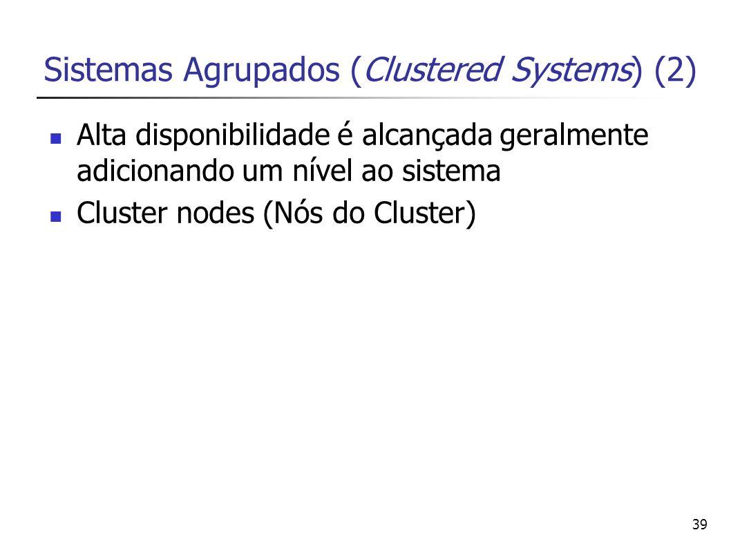 39 Sistemas Agrupados (Clustered Systems) (2) Alta disponibilidade é alcançada geralmente adicionando um nível ao sistema Cluster nodes (Nós do Cluste