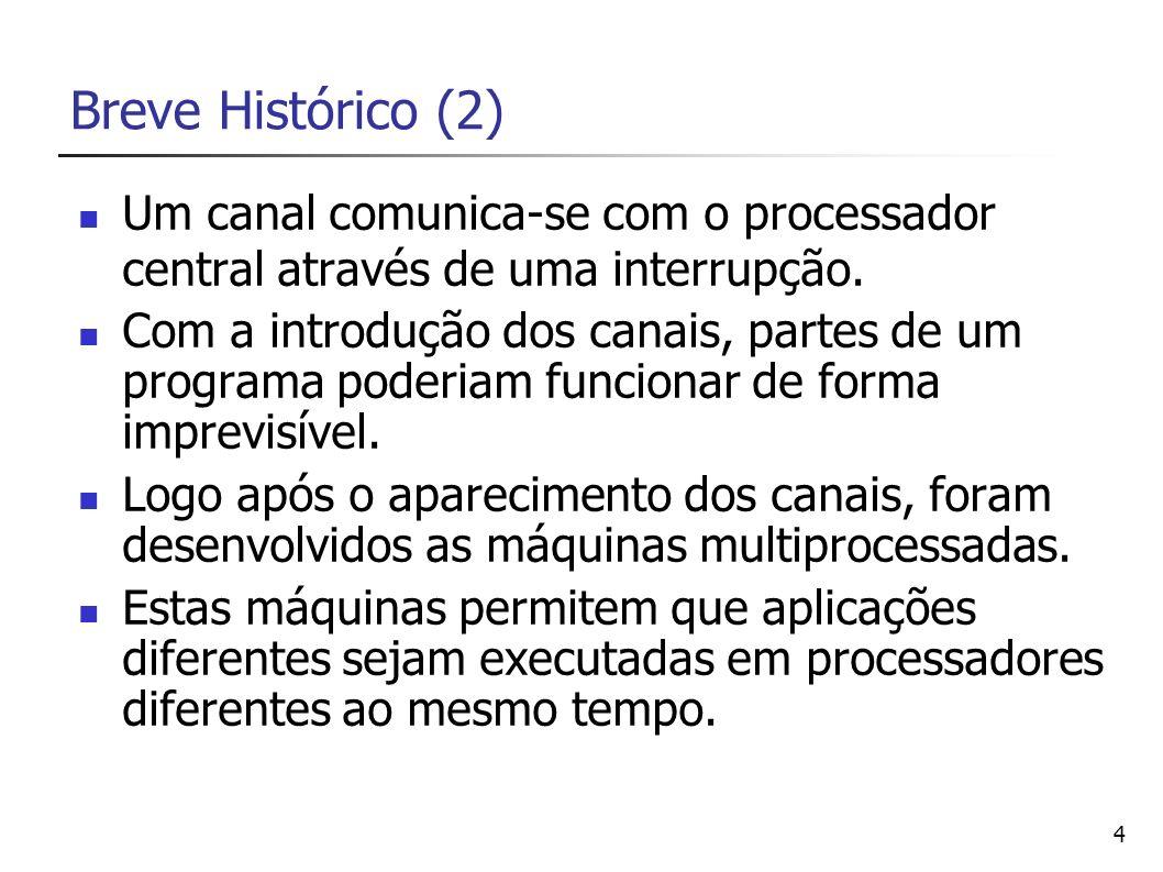 5 Breve Histórico (3) Permite também que uma aplicação possa ser executada mais rapidamente se puder ser reescrita de forma a utilizar múltiplos processadores.