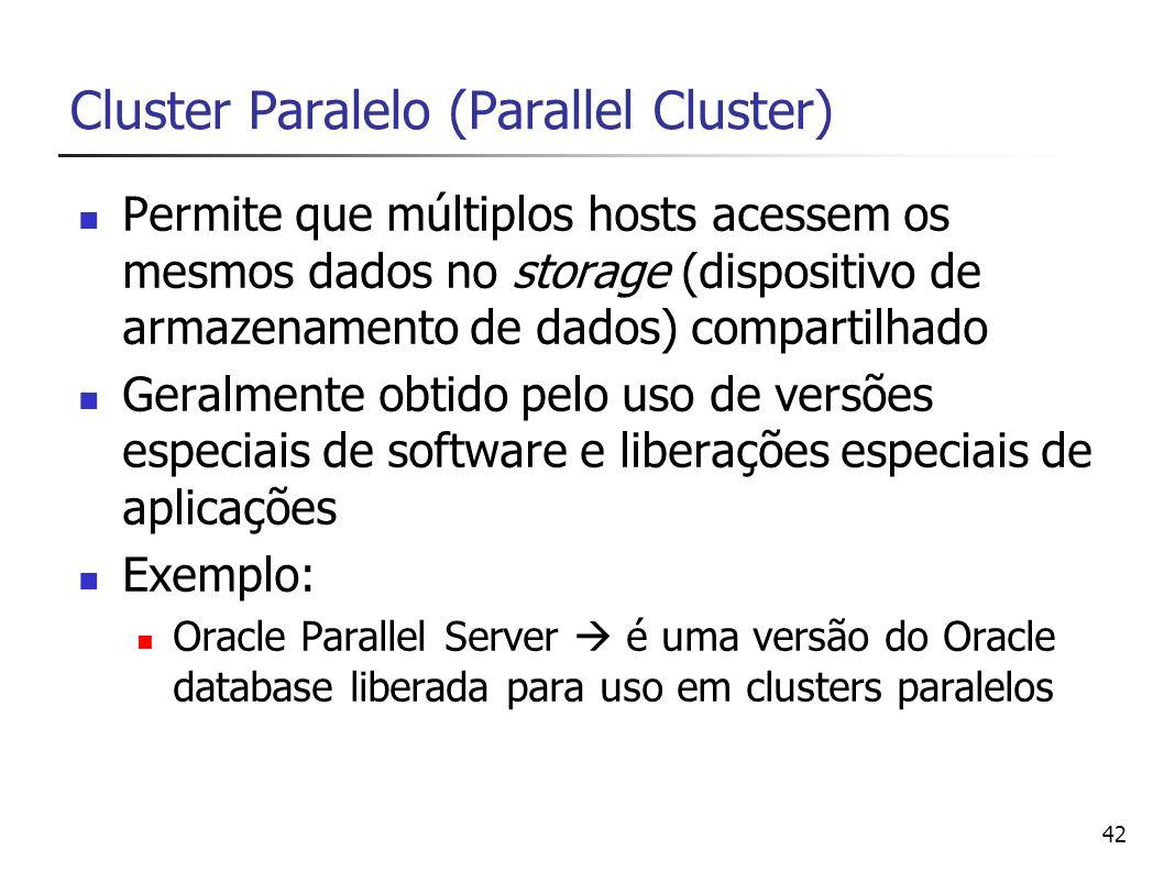 42 Cluster Paralelo (Parallel Cluster) Permite que múltiplos hosts acessem os mesmos dados no storage (dispositivo de armazenamento de dados) comparti