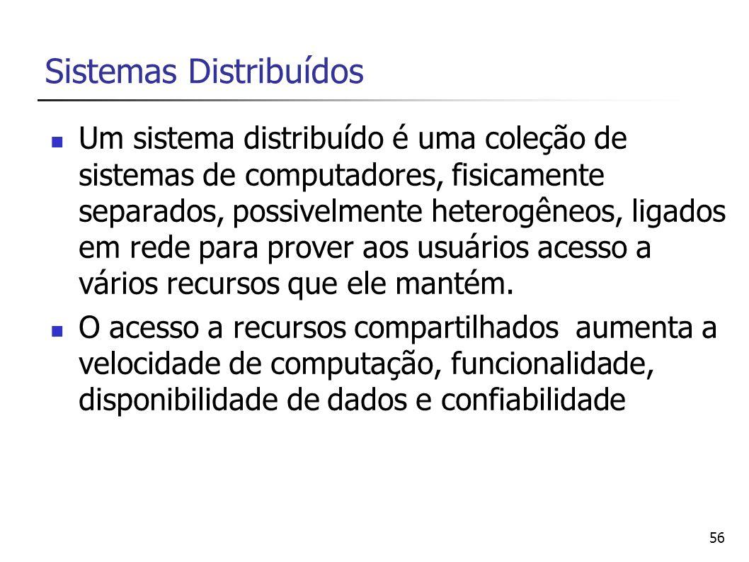 56 Sistemas Distribuídos Um sistema distribuído é uma coleção de sistemas de computadores, fisicamente separados, possivelmente heterogêneos, ligados