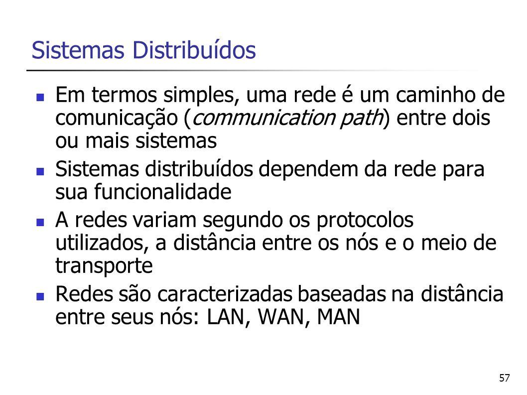 57 Sistemas Distribuídos Em termos simples, uma rede é um caminho de comunicação (communication path) entre dois ou mais sistemas Sistemas distribuído