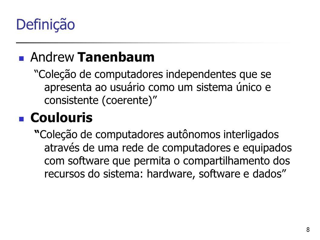 8 Definição Andrew Tanenbaum Coleção de computadores independentes que se apresenta ao usuário como um sistema único e consistente (coerente) Coulouri