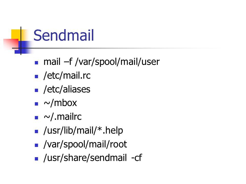Sendmail mail –f /var/spool/mail/user /etc/mail.rc /etc/aliases ~/mbox ~/.mailrc /usr/lib/mail/*.help /var/spool/mail/root /usr/share/sendmail -cf