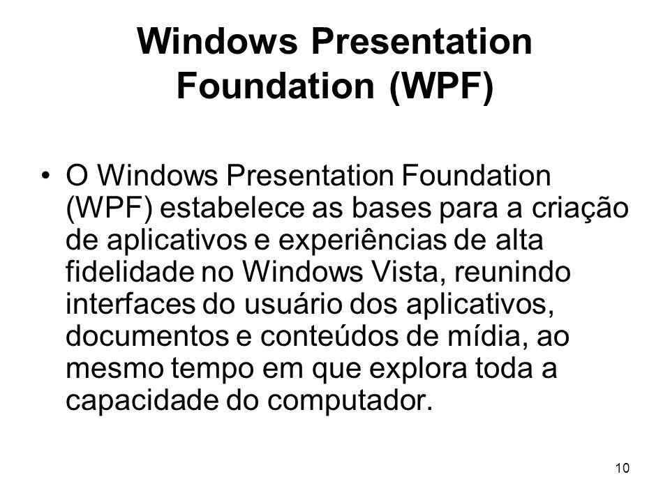 10 Windows Presentation Foundation (WPF) O Windows Presentation Foundation (WPF) estabelece as bases para a criação de aplicativos e experiências de alta fidelidade no Windows Vista, reunindo interfaces do usuário dos aplicativos, documentos e conteúdos de mídia, ao mesmo tempo em que explora toda a capacidade do computador.