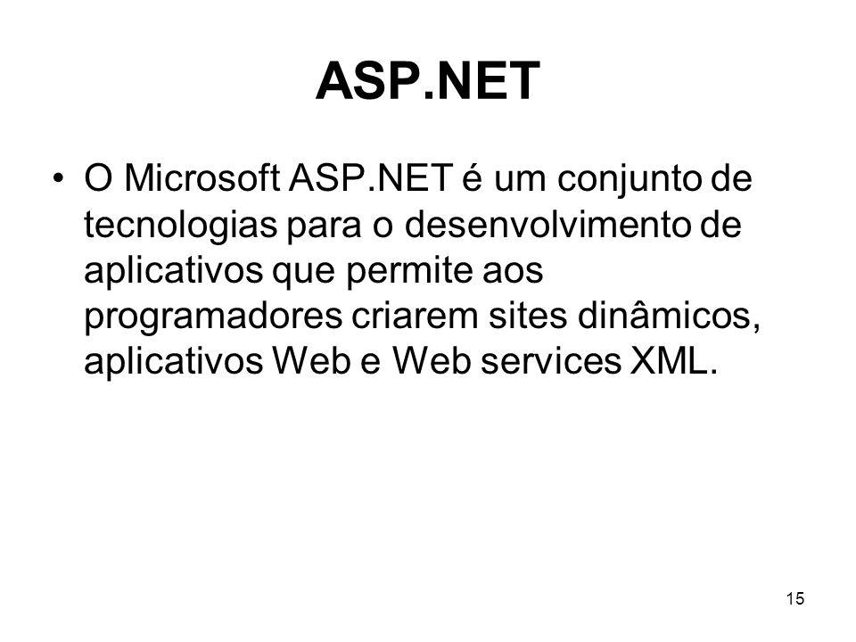 15 ASP.NET O Microsoft ASP.NET é um conjunto de tecnologias para o desenvolvimento de aplicativos que permite aos programadores criarem sites dinâmicos, aplicativos Web e Web services XML.