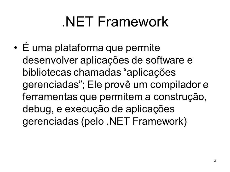 23 C# C# é uma das linguagens de programação disponível para o.NET Framework (outros exemplos de linguagens são: VB, C++, JScript, J#) C# é uma linguagem Orientada a Objetos (ela permite que sejam desenvolvidas aplicações procedurais, aplicações puramente OO ou uma mistura das duas)