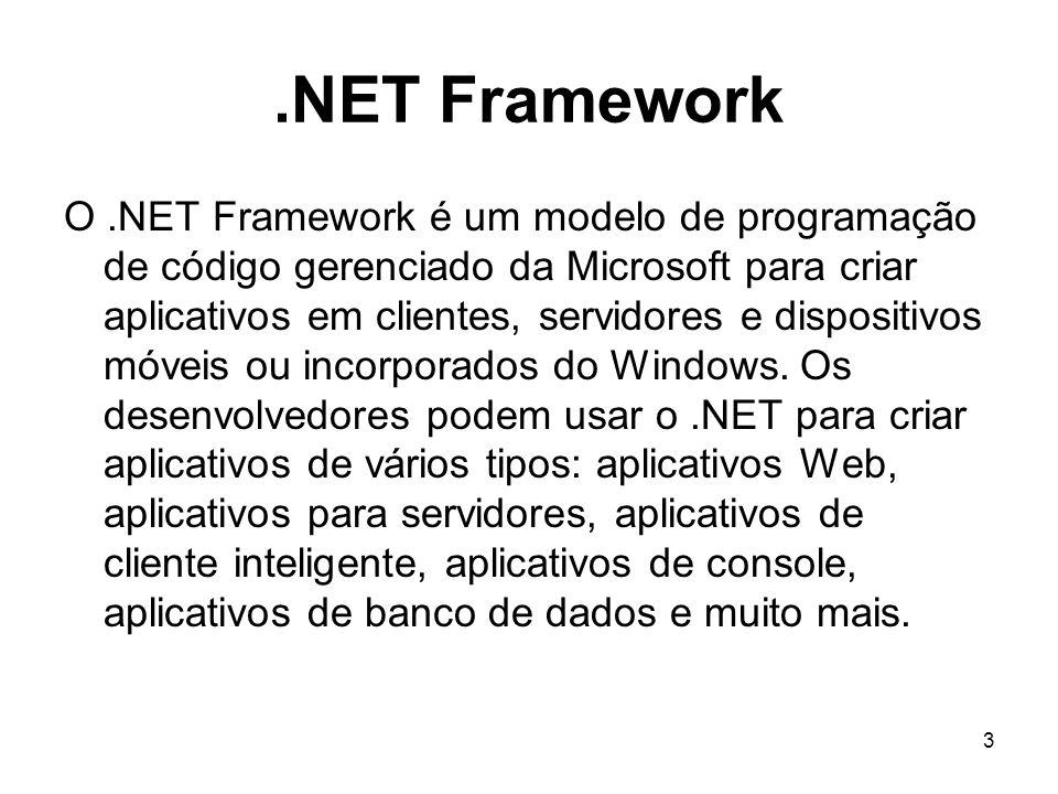 14 ADO.NET O ADO.NET fornece acesso uniforme a fontes de dados tais como o Microsoft SQL Server, além de qualquer fonte de dados exposta através de BDs OLE e XML.
