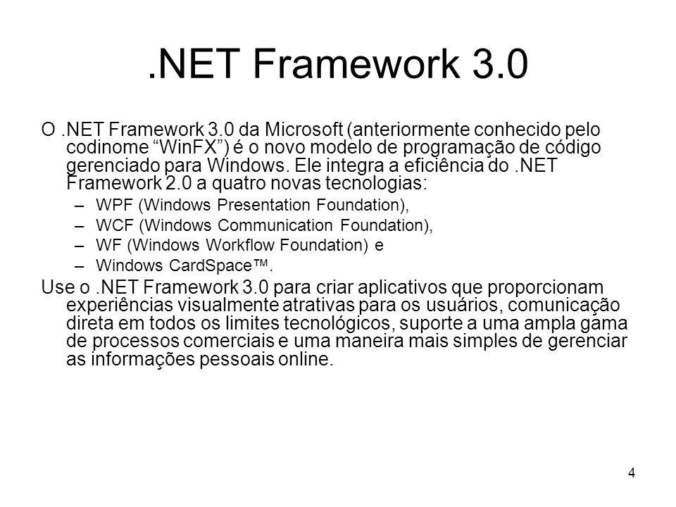 4.NET Framework 3.0 O.NET Framework 3.0 da Microsoft (anteriormente conhecido pelo codinome WinFX) é o novo modelo de programação de código gerenciado para Windows.