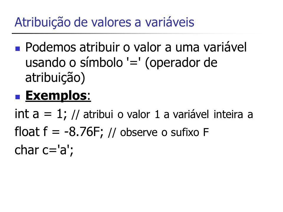 Atribuições Se tentarmos atribuir um número a uma propriedade do tipo texto o programa não irá compilar Por exemplo value.text = 1; erro value.text = 1 ; ok, porém o número um está sendo tratado como texto e não como número value.text = string.Parse(1); o número um é convertido de inteiro para uma string pelo uso do método parse da classe string