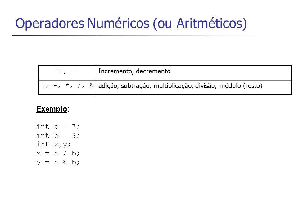 Operador ++ int x; int y; x = 23; y = x++; // operador pós-fixado Console.WriteLine(x + + y); // 23 24 x = 23; y = ++x; // operador pré-fixado Console.WriteLine(x + + y); // 24 e 24