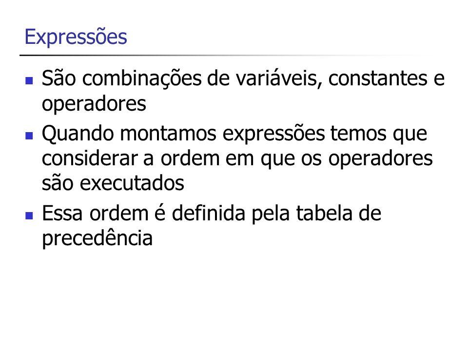 Precedência de Operadores CategoriaOperadores Primário (x) x.y x y f(x) a[x] x++ x– new typeof sizeof checked unchecked stackalloc Unário + - .