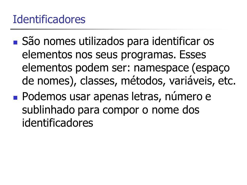 Palavras Chaves C# reserva 77 identificadores, os quais não poderão ser utilizados para outros propósitos Alguns exemplos: bool, break, char, default, enum, float,...