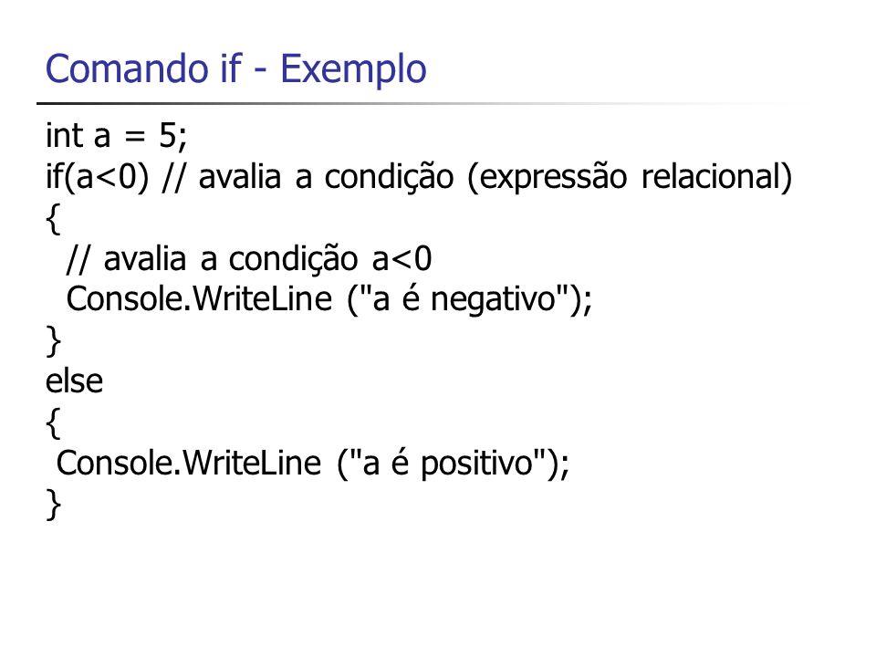 Comandos if em cascata if(dia==0) nome= Domingo ; else if (dia==1) nome= Segunda-Feira ; else if (dia==2) nome= Segunda-Feira ; else if (dia==3) nome= Segunda-Feira ; else if (dia==4) nome= Segunda-Feira ; else if (dia==5) nome= Segunda-Feira ; else if (dia==6) nome= Segunda-Feira ; else if (dia==1) nome= Segunda-Feira ;