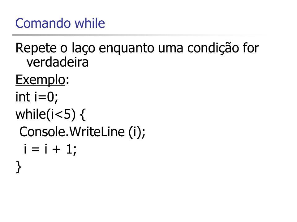Comando do/while int i=0; do { Console.WriteLine( i={0} ,i); i = i + 1; } while (i<5);