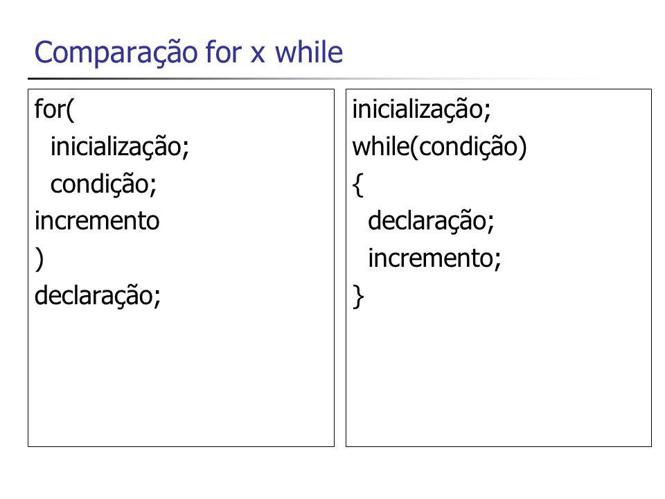 Comparação for x while int i; for(i=0; i<=9; i++) { Console.WriteLine(i); } int i; i=0; while(i<=9) { Console.WriteLine(i); i++; }
