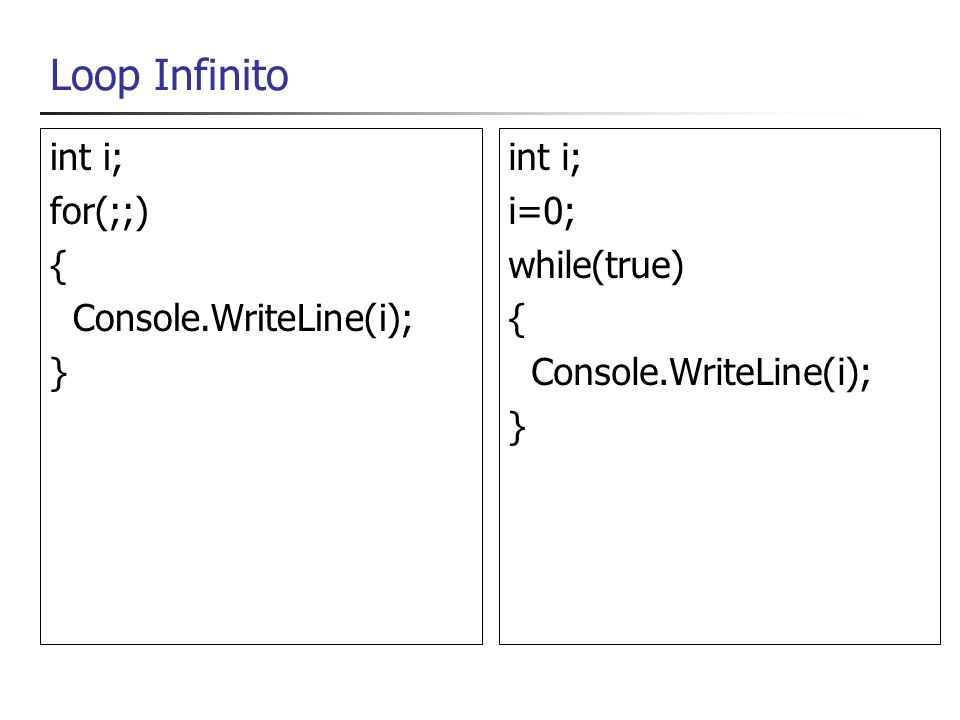 Loop Infinito int i; for(;;) { Console.WriteLine(i); } int i; i=0; while(true) { Console.WriteLine(i); }