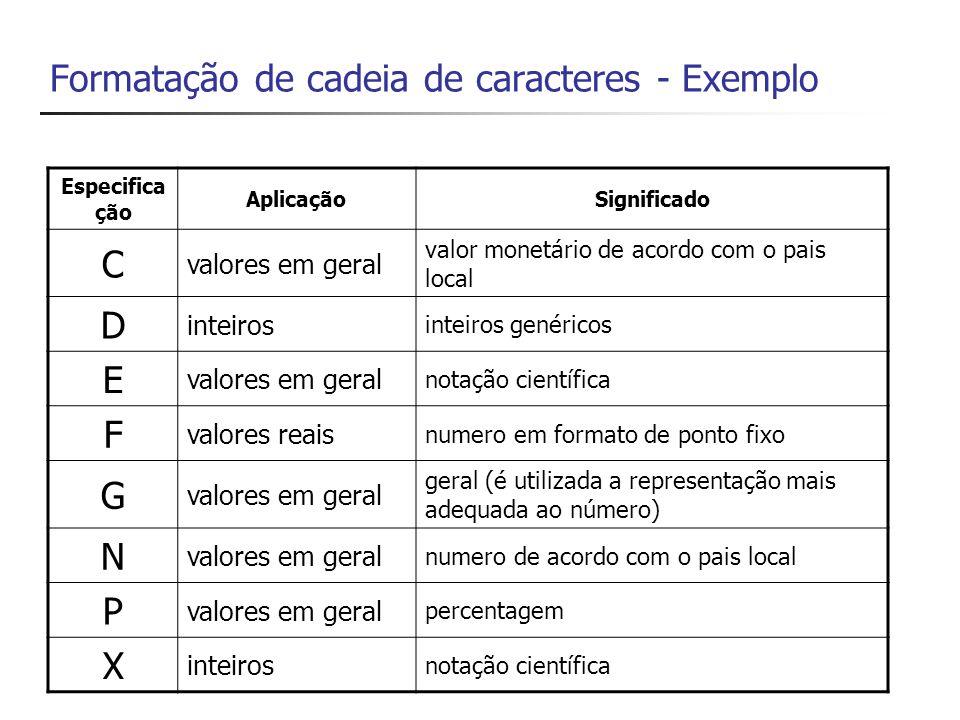 Exemplo {0,4} parâmetro 0, 4 espaços reservados com alinhamento à direita, sem formatação específica {0,-4} parâmetro 0, 4 espaços reservados com alinhamento à esquerda, sem formatação específica
