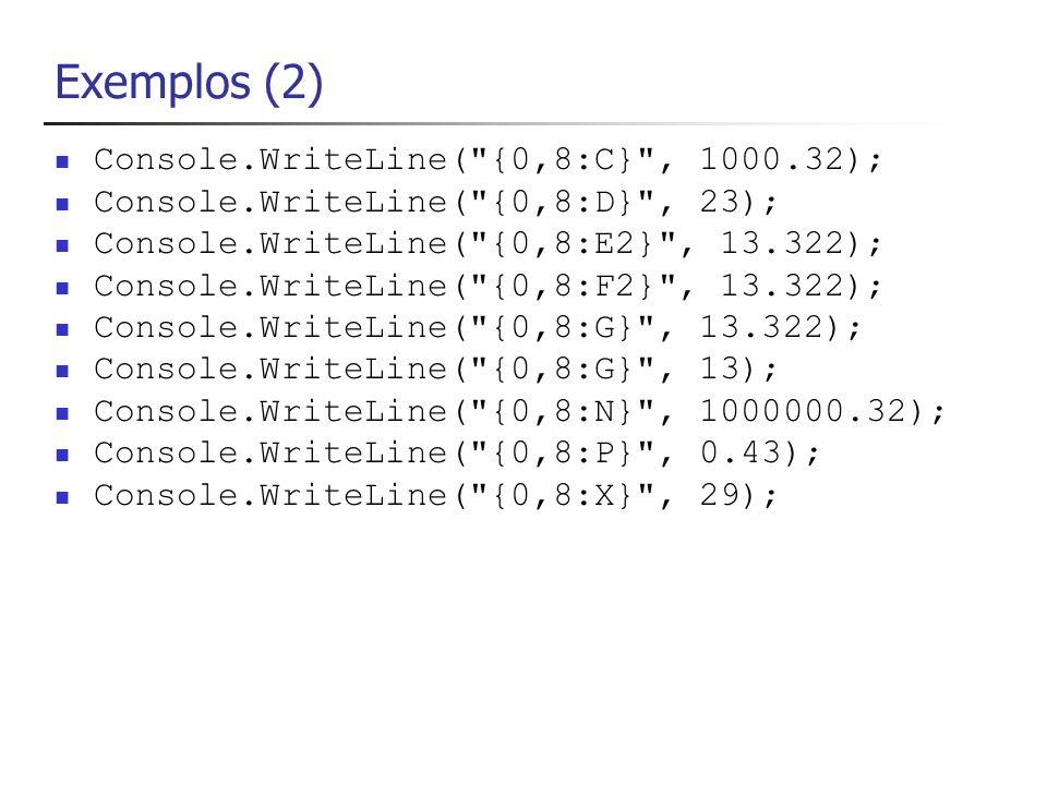 Concatenção de Strings Console.WriteLine( mauro + cesar + lopes ); Console.WriteLine( 3 + 7 ); Retorna a string 37 e não a operação de 3+7=10 Para obtermos a soma de 3 + 7 teríamos que proceder da seguinte forma: Console.WriteLine(int.Parse( 3 ) + int.Parse( 7 ));