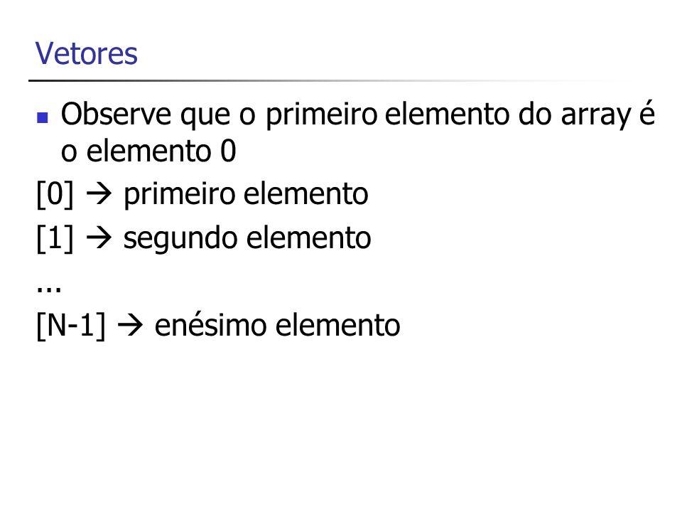 Criação e inicialização de um vetor // Cria e inicializa um vetor string[] nomeDePessoas = { Antonio , Jose , Joao }; string[] nomeDePessoas = new String[] { Antonio , Jose , Joao }; Obs: o compilador determina qual deverá ser o tamanho do vetor