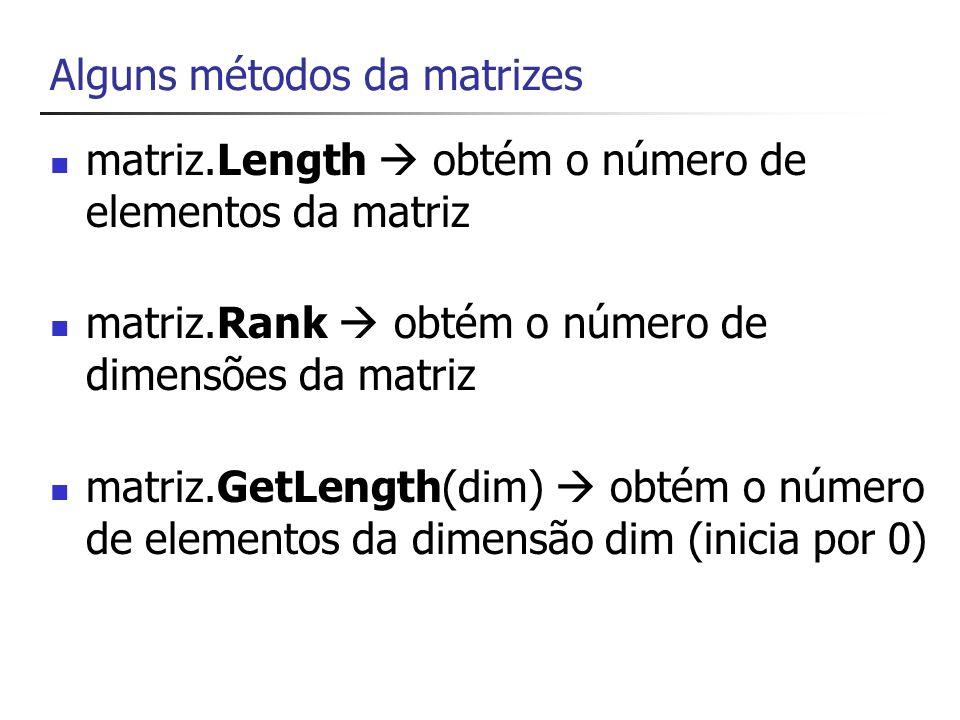 Soma de Matrizes int[,] matrizA = { {1,2,3}, {4,5,6} }; int[,] matrizB = { {4,-1,2}, {-3,-7,-6} }; int[,] matrizC = new int[2,3]; // duas linha e // três colunas // C = A + B