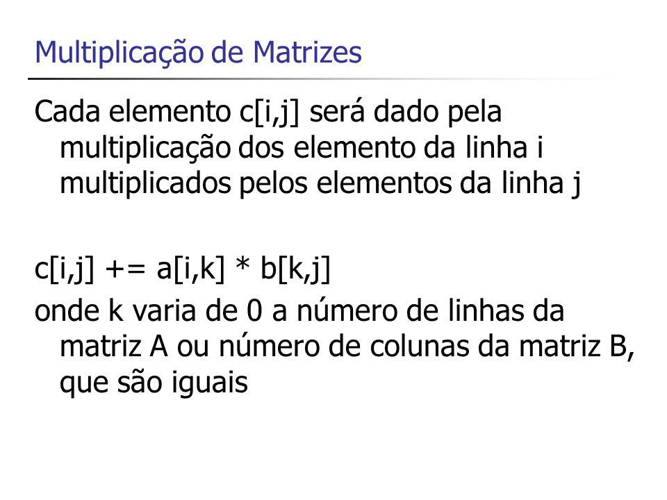Criando um método para exibir uma matriz static void print(double[,] a) { // numero de linhas int m = a.GetLength(0); // numero de colunas int n = a.GetLength(1); for (int i = 0; i < m; i++) { for (int j = 0; j < n; j++) { Console.Write( a[{0},{1}]={2} ,i,j,a[i, j]+ \t ); } Console.WriteLine(); }