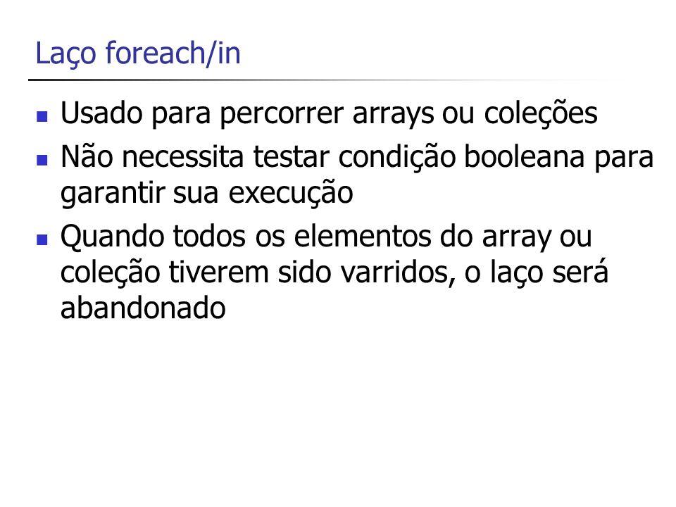 foreach/in string[] alunas = { giovanna , fabiana , livia , iris }; // percorre os nomes presentes no array // alunas foreach (string nome in alunas) { Console.WriteLine(nome); }