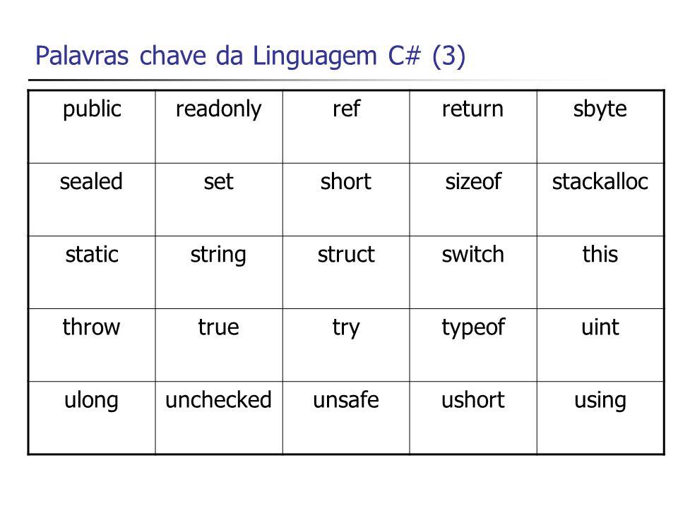 Palavras chave da Linguagem C# (4) valuevirtualvoidvolatilewhile