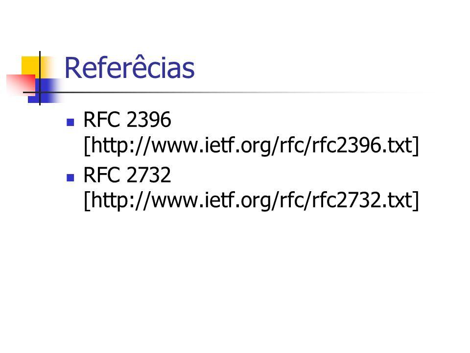 Referêcias RFC 2396 [http://www.ietf.org/rfc/rfc2396.txt] RFC 2732 [http://www.ietf.org/rfc/rfc2732.txt]