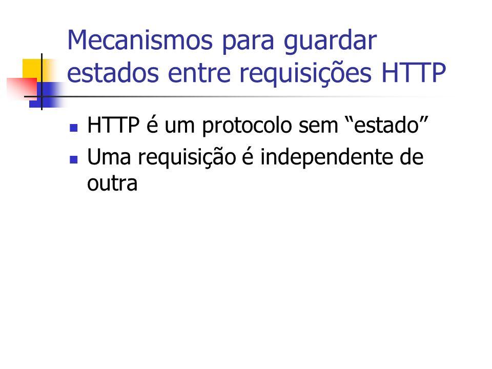 Mecanismos para guardar estados entre requisições HTTP HTTP é um protocolo sem estado Uma requisição é independente de outra