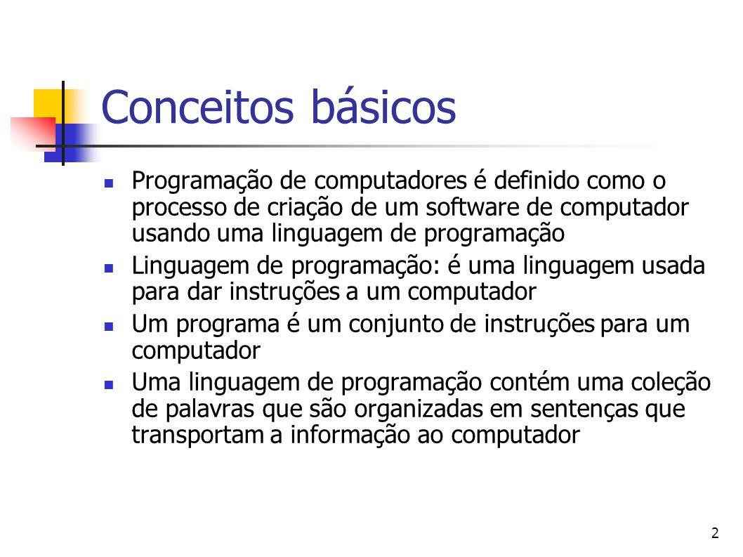2 Conceitos básicos Programação de computadores é definido como o processo de criação de um software de computador usando uma linguagem de programação