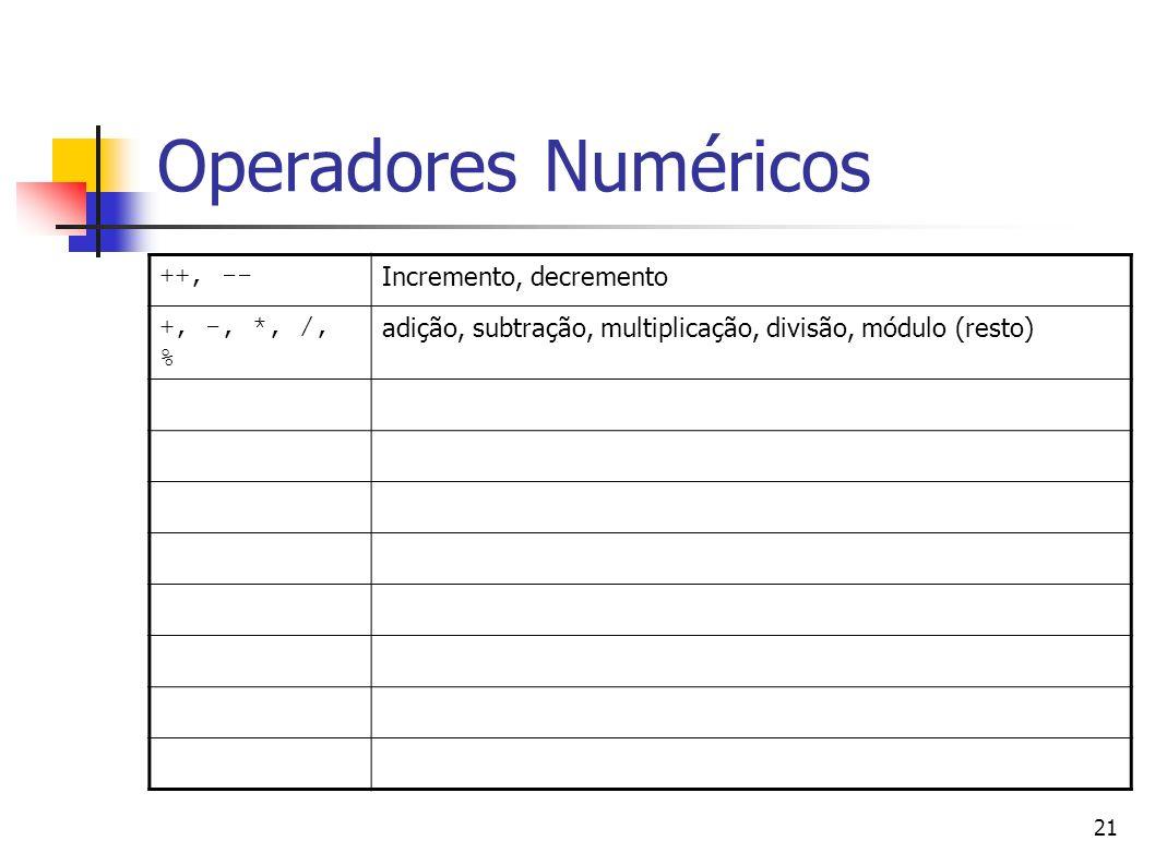 21 Operadores Numéricos ++, -- Incremento, decremento +, -, *, /, % adição, subtração, multiplicação, divisão, módulo (resto)