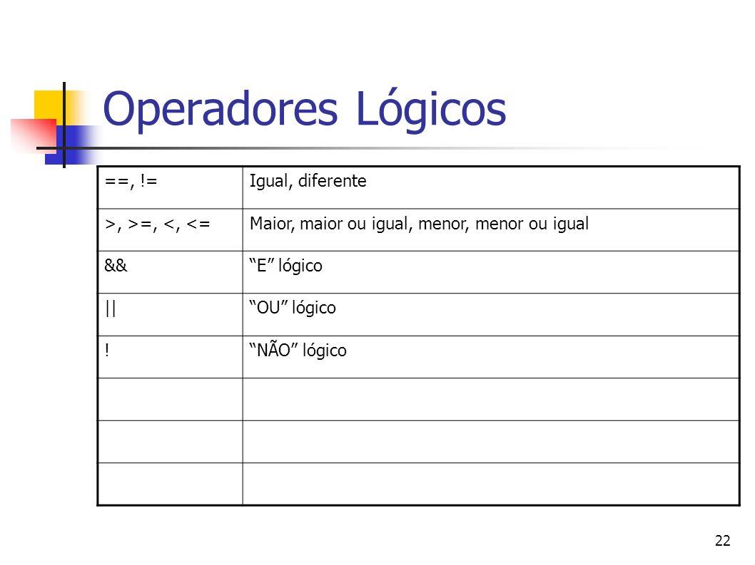 22 Operadores Lógicos ==, !=Igual, diferente >, >=, <, <=Maior, maior ou igual, menor, menor ou igual &&E lógico   OU lógico !NÃO lógico